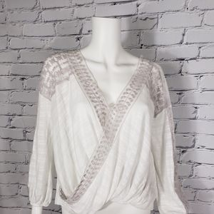 Free People White and Lilac Lace Wrap Top